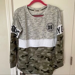 Dry Goods Grey and Camo Top